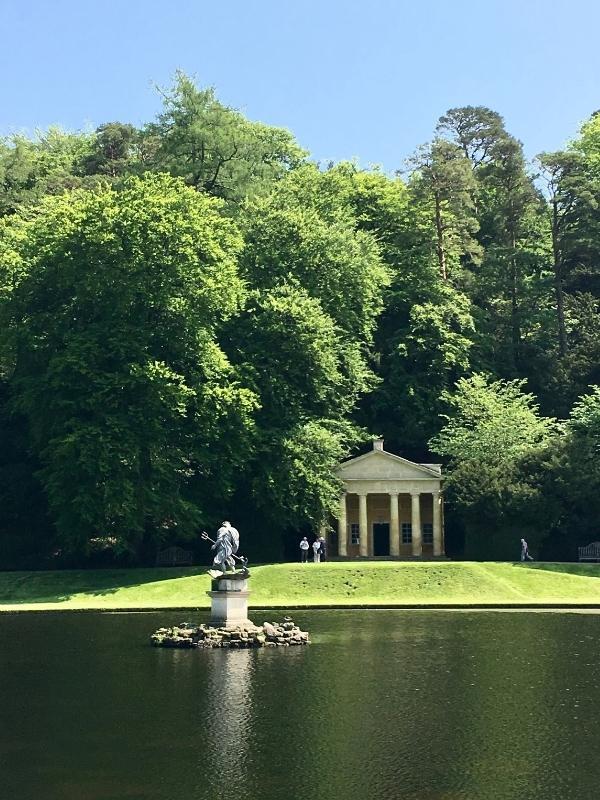 View of the pavilion at fountains abbey and studley royal.