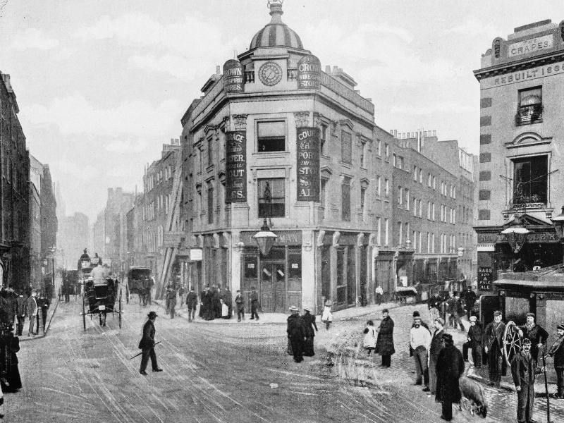 Antique photo of the Seven Dials junction in London.