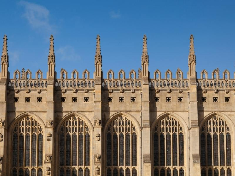 Exterior of King's College Chapel in Cambridge.