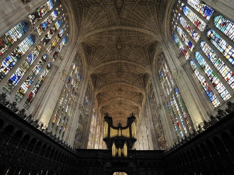 Stained glass windows in King's College Chapel.
