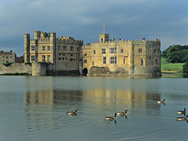 Leeds Castle with the moat around it.