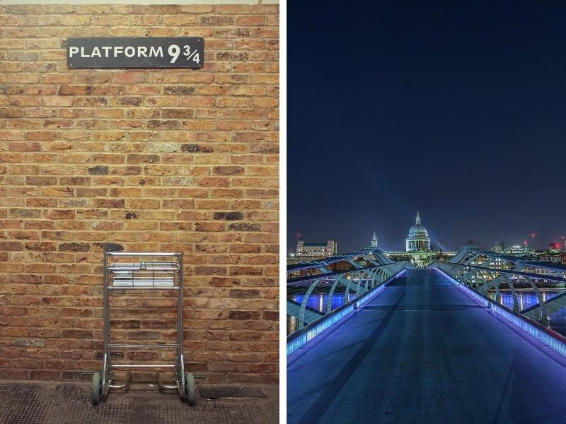 Platform 9 3/4 at Kings Cross and the Millennium Bridge in London.