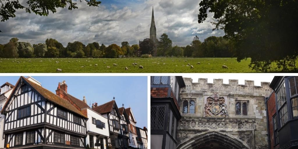 Collage of pictures of the English city of Salisbury