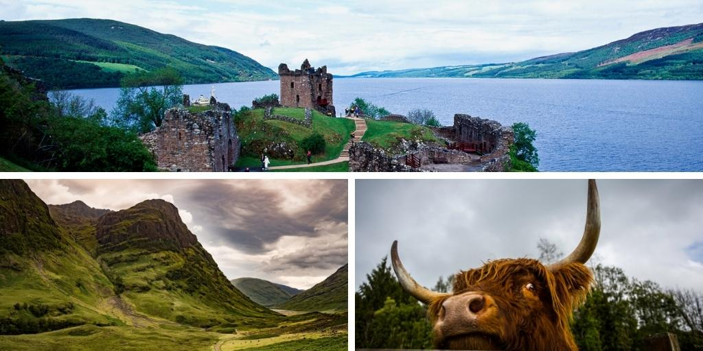 Collage of images of the Scottish Highlands