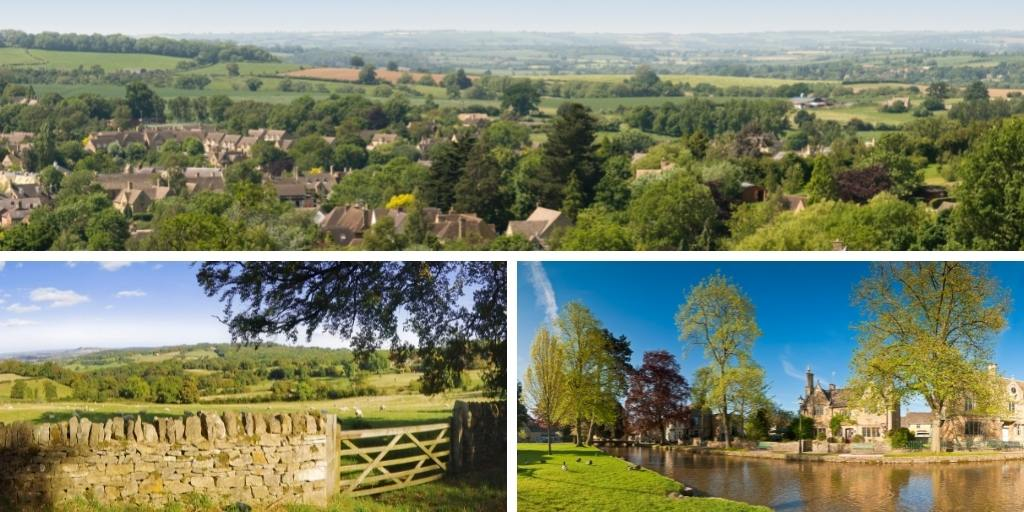 collages of images of the Cotswolds.